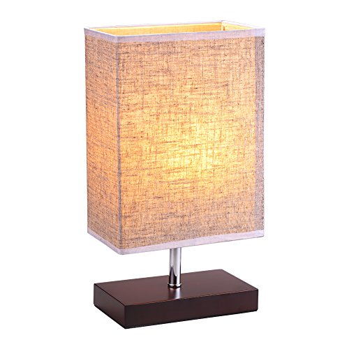 Bedside Lamp Table Lamp for Bedroom, Nightstand Lamp with Wooden Black Base and Fabric Shade, Soft Ambient Light Perfect for Bedroom Living Room or ()