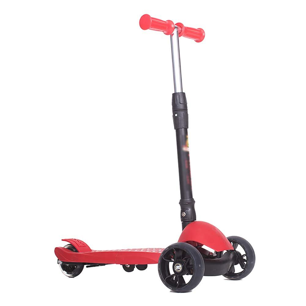 スクーター 子供のための屋外キックスクーター、三輪車調節可能ハンドル、フラッシュホイールを備えたワイドペダルスクーター (色 : 青) B07KY53XPM Red Red