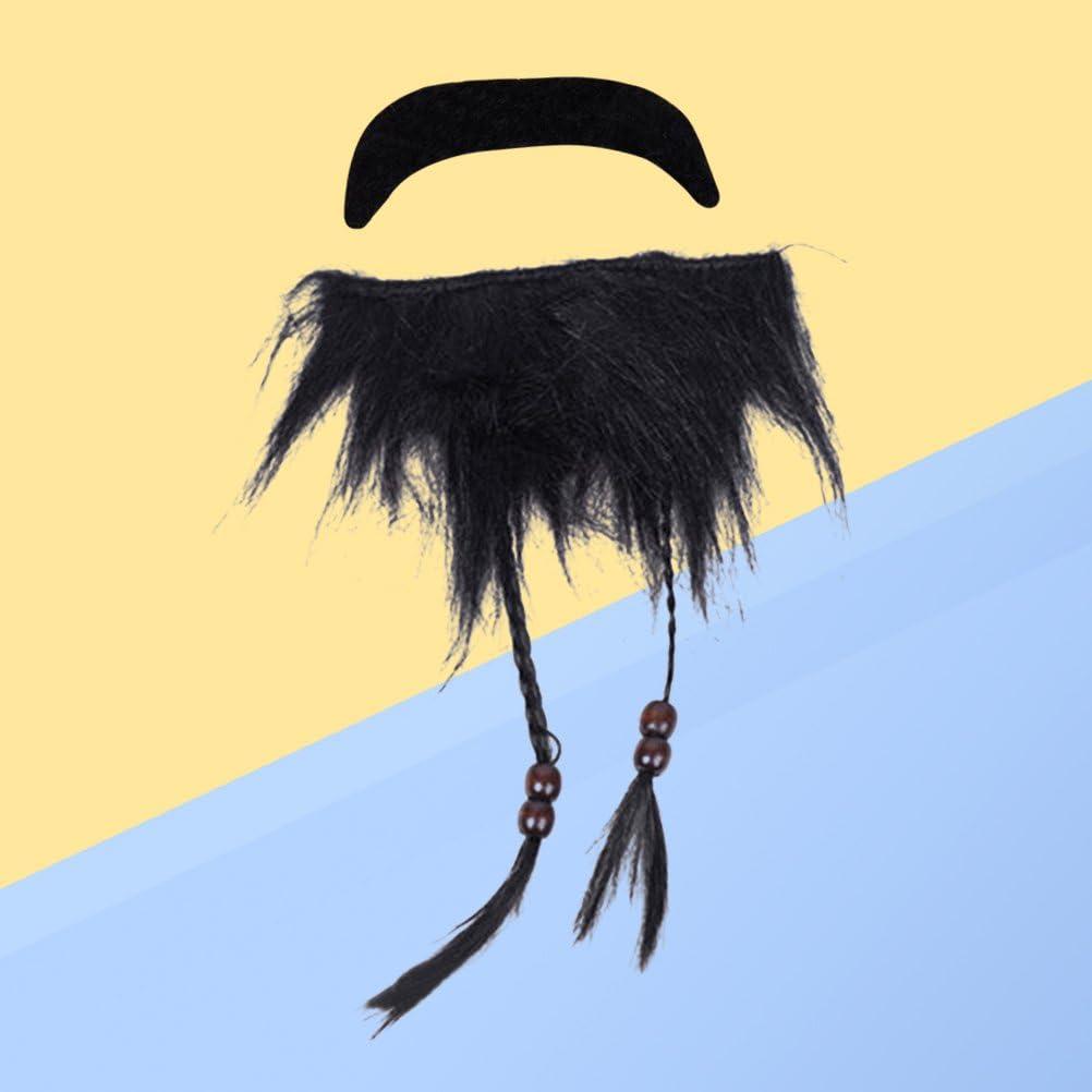 Amosfun Pirata Barba Bigote Falso Barba Hombre Barbudo Negro Divertido Traje de Bigote: Amazon.es: Juguetes y juegos