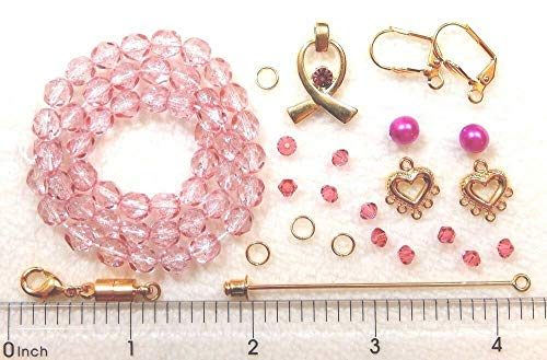 Pink Gold Breast Cancer Awareness Ribbon Swarovski Crystal Beads Clasp Findings