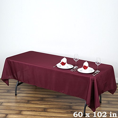"Efavormart Burgundy 60x102"" Polyester Rectangle Tablecloths"