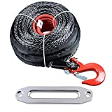 92' x 1/2'' Synthetic Winch Rope 22000LBs w/ Protective Sleeve + RED Hook + 10'' Aluminum Hawse Fairlead