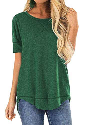 Women's Casual Tee Tops Ladies Round Neck Loose Tunic T-Shirts(Green,XL)