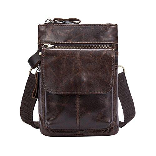 Zhuhaitf Mens Unisex Cowhide Leather Zipper Soft Mini Waist Bag Shoulder Bag Crossbody Bag for Halloween Gift Dark Brown