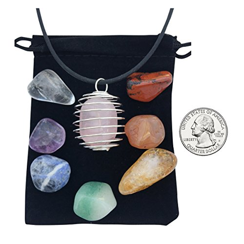 Zangrala Healing Crystals and Stones - 7 Chakra Stone Set with Rose Quartz and Cage Necklace– Charged with Reiki Energy - Carry a Stone with You and Raise Your Vibrational Frequency