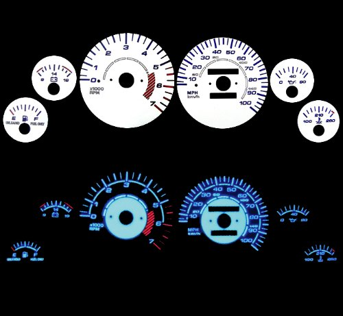 93-95 Jeep Grand Cherokee Reverse White Gauges Blue indiglo kit