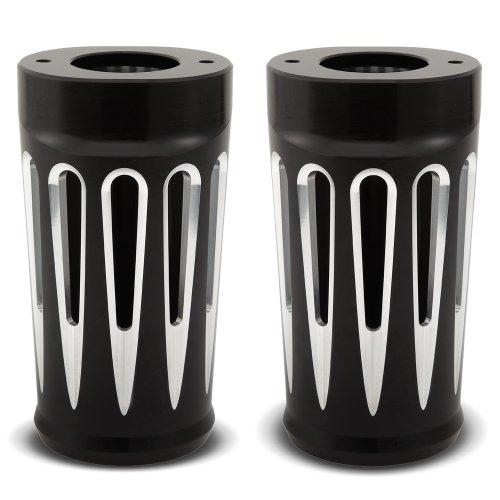 Black Retro Fork Boots (Arlen Ness 20-014 Black Ness Fork Boot Cover)