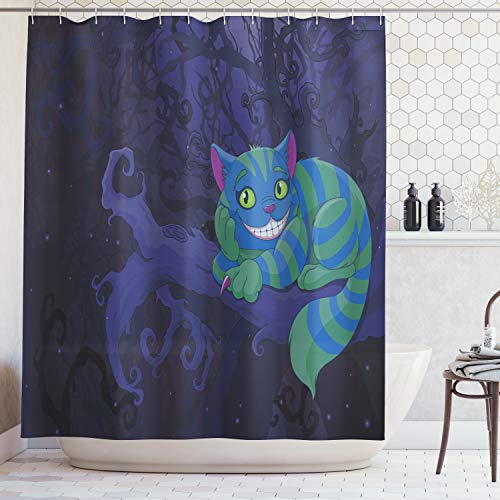 Ambesonne Alice in Wonderland Decorations Collection, Chester Cat Sitting on Branch in Fairy Forest Character Alice, Polyester Fabric Bathroom Shower Curtain, 84 Inches Extra Long, Green Blue Purple]()