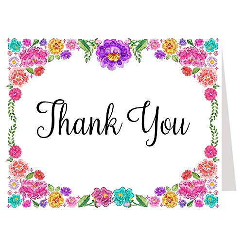 Fiesta Thank You Cards Bridal Shower Taco Bout Love Taco Bout Baby Shower Wedding Birthday Party Cinco De Mayo Floral Flowers Nacho Average Bride Pink Purple Blue Confetti (50 Count) ()