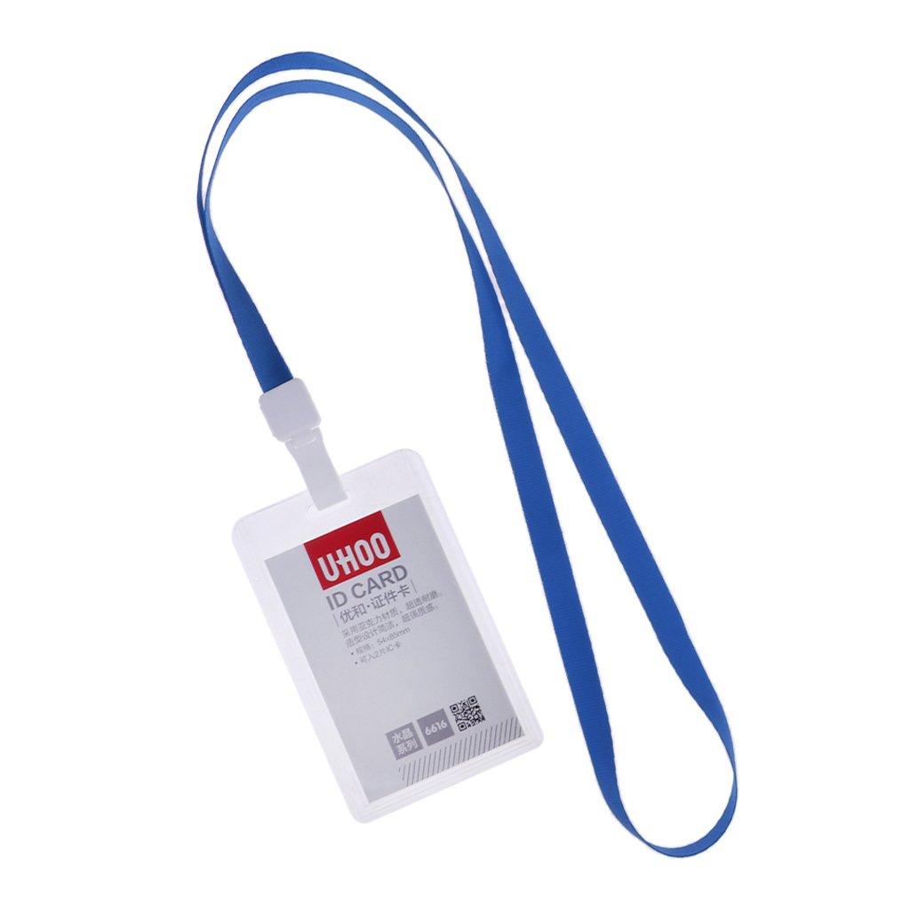 D DOLITY Custodia Per Manichette Protector ID Badge Porta Tessere Identificativo Aziendale Orizzontale/Verticale - Blue Horizontal with Lanyard