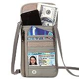 DEW Travel Passport Holder Stash Hidden Neck Pouch RFID Blocking Travel Anti-Theft Hidden Wallet for Security,Water Resistant Pocket Pouch Neck Passport Wallet (Grey)