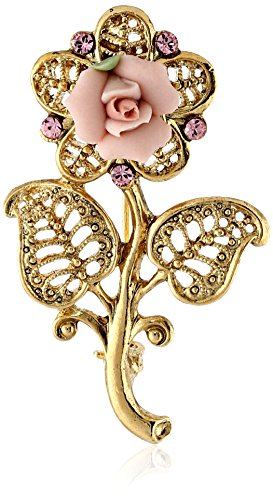 1928-Jewelry-Gold-Tone-Pink-Crystal-and-Porcelain-Rose-Filigree-Brooch