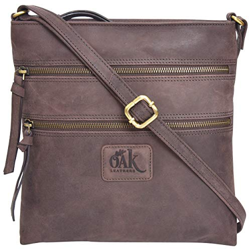 Leather Crossbody Purses and Handbags for Women-Premium Crossover Bag Over the Shoulder Womens (Brown Crazy Horse)