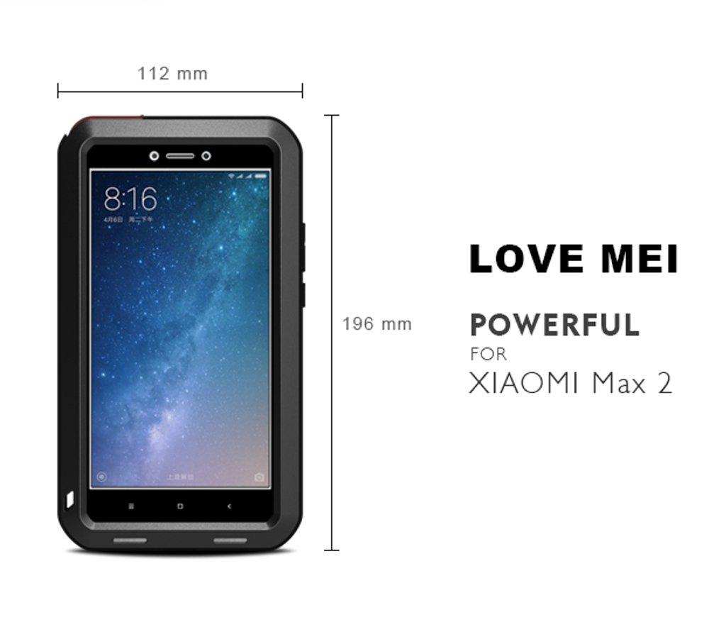 Xiaomi Mi Max 2 Funda, Love Mei Metal [Aluminio] y Silicona Antigolpes [Ultra Resistente] Antichoque Protector de Pantalla [Cristal Gorila Glass] Antipolvo ...