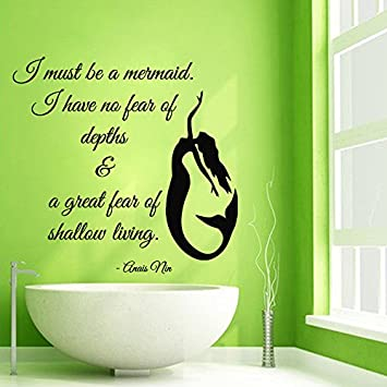 Wall Decals Vinyl Decal Sticker Words Quote I Must Be A Mermaid Water Nymph Girl Room