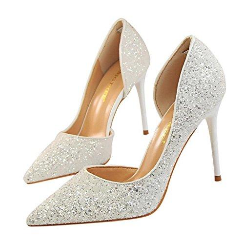 Zapatos D'Orsay Tacon White de Alto Mujer RAZAMAZA Para w4UqPdUA
