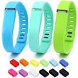 Henoda 3PCS Small Replacement Bands with Metal Clasps for Fitbit Flex Wireless Activity Sleep Wristband, Set of 3 with 12 Piece Colorful Silicon Fastener Ring