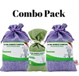 Combo Pack. Bamboo Charcoal Deodorizer Bag Bundle with Power Pack, Best Air Purifiers for Smokers & Allergies, Perfect Car Air Fresheners, Remove Smell for Home & Bathroom (3,Green & Purple)