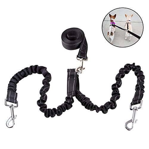 CyberDyer Double Dog Leash Coupler No Tangle Training Leash With Shock Absorbing Bungee Leash Pet Leads Splitter For Two Dogs (Weight: 55-88lbs) by CyberDyer