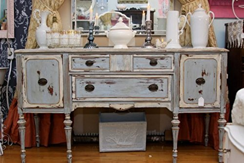 Antique Mahogany Buffet Server in Swedish Blue Distressed Beach