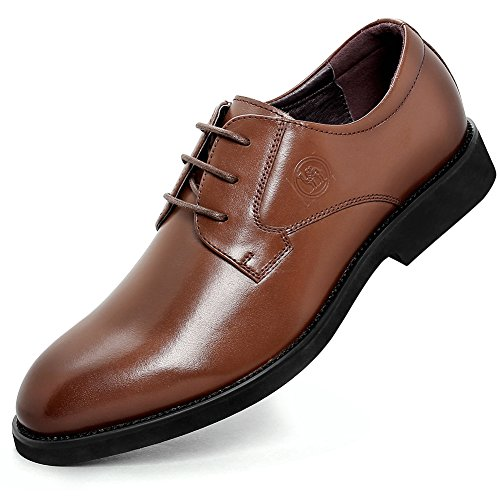 Camel Crown Dress Shoes for Men Oxford Leather Classic Casual Lace-up Shoe(Light Brown,9 D(M) US) (Leather Brown Quality)