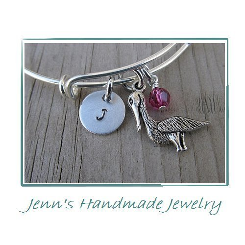 Hand-Stamped Bangle Bracelet Pelican Charm with your choice of initial, bead and bangle