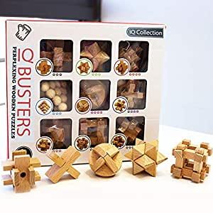 SHUYUE Wooden Brain Teaser Puzzle for Child and Adults 9 PCS Assembly & Disentanglement 3D Wooden Puzzles Toys with Gift Box