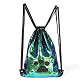 Mermaid Magic Reversible Sequins Bag, Flippy Sequin Lightweight Drawstring Shoulder Backpack Girls/Boys Dance Hiking Sports Gym Bag For Sale