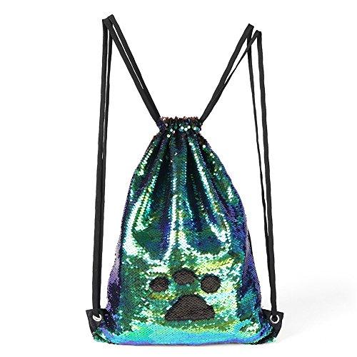 Mermaid Magic Reversible Sequins Bag, Flippy Sequin Lightweight Drawstring Shoulder Backpack Girls/Boys Dance Hiking Sports Gym Bag For Sale