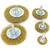 Circular Wire Wheel Brushes for Drill (Set of 5) Brass-Coated