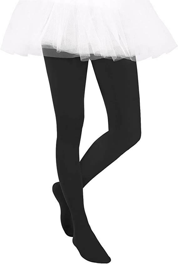 HDE Girls Stockings Microfiber Opaque Footed Kids Tights Black, Medium