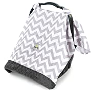 Itzy Ritzy Cozy Happens Infant Car Seat Canopy Muslin Collection, C. Grey Chevron