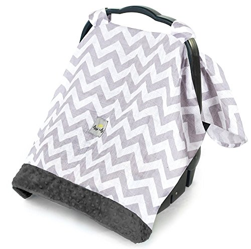 Itzy Ritzy Cozy Happens Infant Car Seat Canopy Muslin Collection, C. Grey (Minky Infant Car Seat Cover)