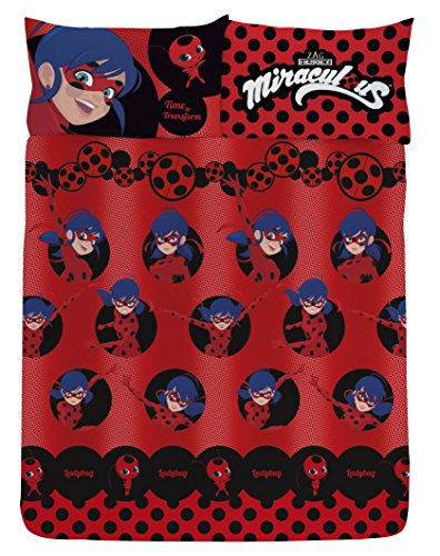 Miraculous Lady Bug Girl Double Red Duvet Cover Set + Pillowcase (Bedding Double Character)