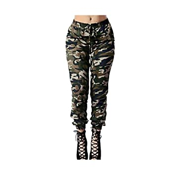 97e6ecc89cf1e Clearance Sale! Charberry Womens Camouflage Printed Bandage Trousers  Military Army Green Casual Loose Pants (
