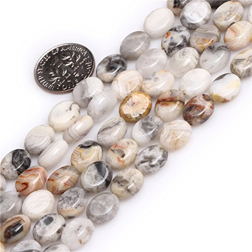 Joe Foreman Crazy Lace Agate Beads for Jewelry Making Natural Gemstone Semi Precious 8x10mm Gray Oval 15