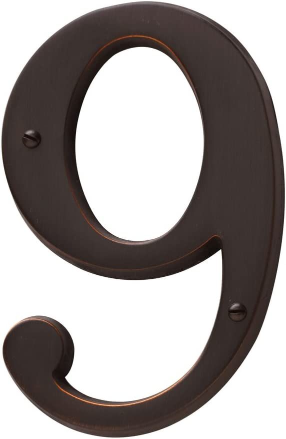 Baldwin Estate 90679.112.CD Solid Brass Traditional House Number Nine in Venetian Bronze, 4.75""