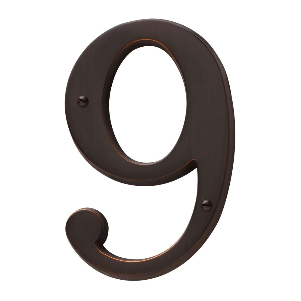 Baldwin Estate 90679.102.CD Solid Brass Traditional House Number Nine in Oil Rubbed Bronze, 4.75' 4.75
