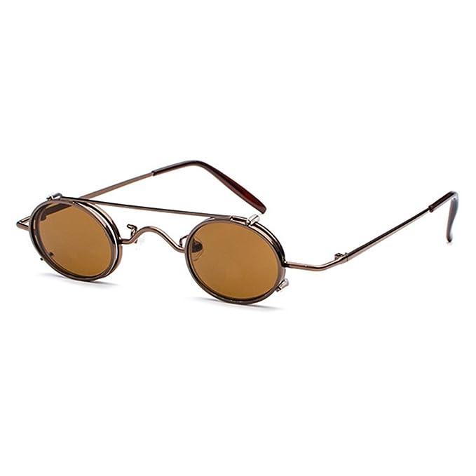 juqilu Hombres de las mujeres pequeñas gafas de sol redondas Steakpunk extraíbles Retro Vintage gafas de sol