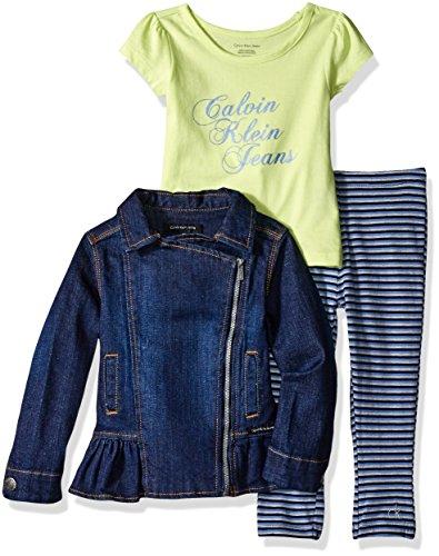 little girls 3 piece denim jacket shirt