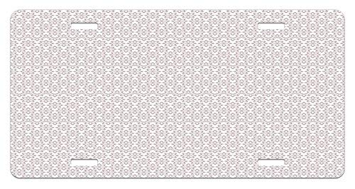 Taupe Gloss - Floral Blossoming Nature Pattern Retro Design Inspirations Monochrome Illustration Taupe and White High Gloss Aluminum Novelty License Plate Cover Car Decoration