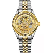 BRIGADA Luxury Gold Waterproof Automatic Wrist Watches for Men Swiss Brand Nice Mechanical Mens Watches