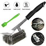 BBQ Grill Brush And Scraper - 18 Inches 3 in 1 Safe Stainless Steel Barbecue Cleaner Brush With Triple Head ,silicone brush as bonus,Perfect Grill Accessories Gift for All Barbecue Lovers