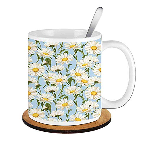 (Chamomile Flowers Garden Foliage Harvest Yard Shabby ,Ivory Olive Green Baby Blue;Ceramic Cup with Spoon & Round wooden coaster Milk Coffee Tea Mug 11oz gifts for family )