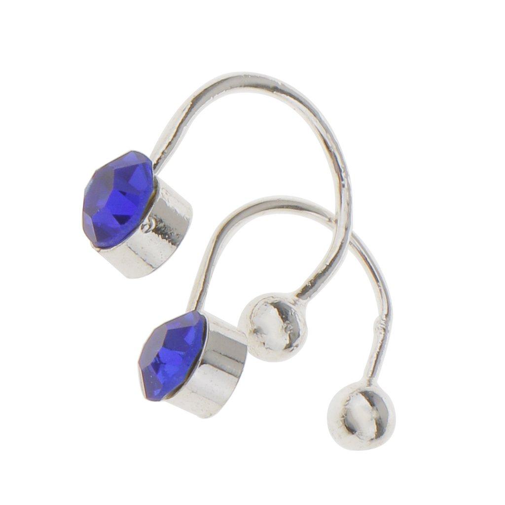 Pair U Clip On Earrings Ear Cuff Studs w/ Royal Blue Rhinestone Generic