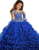 MemoryTU Flower Girls' Birthday Party Prom Ball Gown Floor Length Wedding Pageant Dresses 10 US Dark Blue