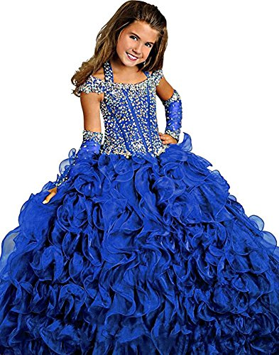 MemoryTU Flower Girls' Birthday Party Prom Ball Gown Floor Length Wedding Pageant Dresses 10 US Dark Blue by MemoryTU