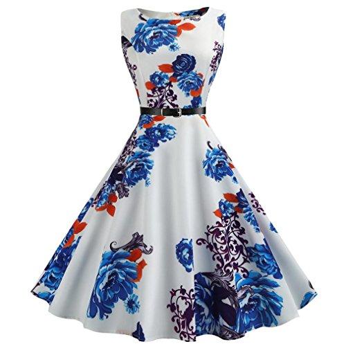 Dresses Belt Sleeveless Dress Women Printed Hepburn KIMODO Style Retro Blue Slim qwPFTt4n