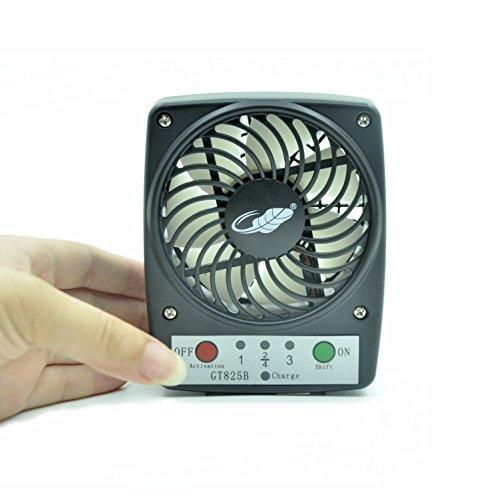 Portable Fan WAYCOM Mini USB Personal Fan Power Bank - Portable Fan Outdoor Fan Desktop Fan 3 Speeds Handheld Cool Fan(Black)