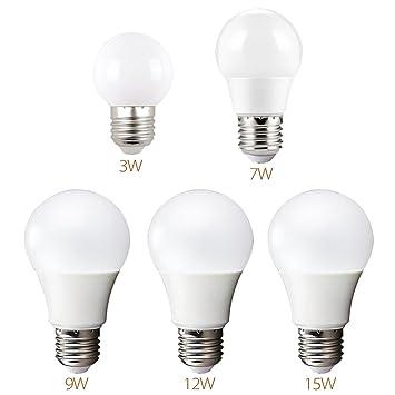 William 337 Bombillas, Bombilla LED E27 7W a 14W, 220V frío Blanco, Blanco cálido - luz de ...